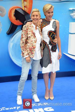 Ellen DeGeneres who voices Dory at the European premiere of 'Finding Dory' seen posing with her wife Portia De Rossi...