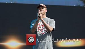 Pharrell Williams performing at Barclaycard presents British Summer Time Hyde Park. Pharrell played as a warm-up act for Stevie Wonder...