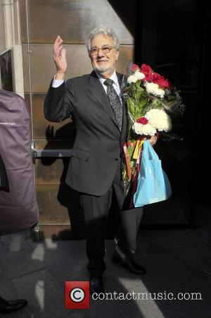 Placido Domingo arrives at the Royal Theatre for the concert opera 'I due Foscari' - Madrid, Spain - Tuesday 12th...
