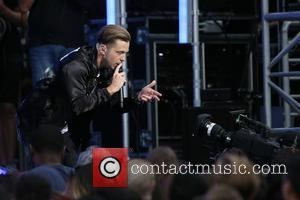 Ryan Tedder, Zach Finkins, Drew Brown and Jerrod Bettis of One Republic perform live on Jimmy Kimmel Live at Hollywood...