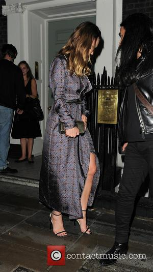 Lily James arrives at Soho House for a dinner party after the Burberry Prorsum show - London, United Kingdom -...