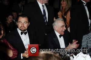 Leonardo DiCaprio talks to the audience at the Friars Club Gala who honoured the Icon Award to Martin Scorsese held...