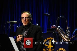 Elvis Costello talks to the audience at the Friars Club Gala who honoured the Icon Award to Martin Scorsese held...