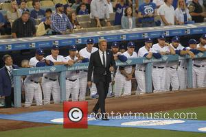 Kevin Costner at Vin Scully's Appreciation Night held at Dodger Stadium. The Los Angeles Dodgers defeated the Colorado Rockies by...