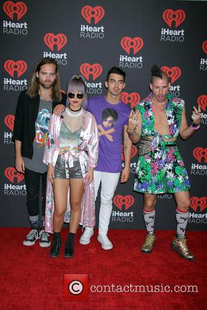 DNCE seen entering the 2016 iHeartMusic Festival on the second Night held at TMobile Arena in Las Vegas, Nevada, United...