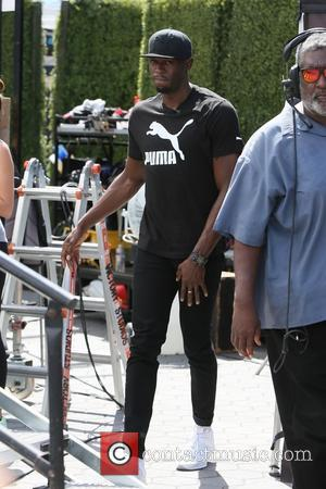 Usain Bolt seen at Universal studios where he was interviewed by Mario Lopez for television show Extra - Los Angeles,...