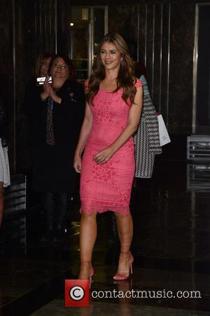 Elizabeth Hurley at The Empire State Building lighting ceremony in honor of Estee Lauder's 2016 Breast Cancer Awareness Campaign -...