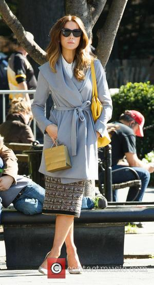 Kate Beckinsale seen on the set of her new movie 'The Only Living Boy' in NYC at Washington Square Park,...