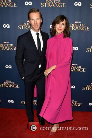 Benedict Cumberbatch and his wife Sophie Hunter seen at the 'Doctor Strange' launch event held at The Cloisters, Westminster Abbey,...