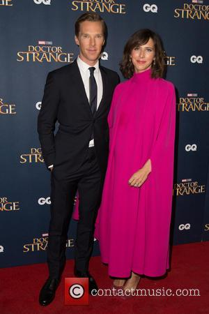 Benedict Cumberbatch and Sophie Hunter seen at the 'Doctor Strange' launch event held at The Cloisters, Westminster Abbey, London, United...