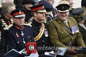 Prince Harry at the National Memorial Arboretum Armistice Day service - Stafford, United Kingdom - Friday 11th November 2016