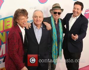 Mick Jagger, Lorne Michael, Kieth Richards and Jimmy Fallon
