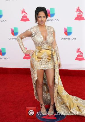 Becky G seen arriving at the 17th Annual Latin Grammy Awards held at T-Mobile Arena in Las Vegas, Nevada, United...