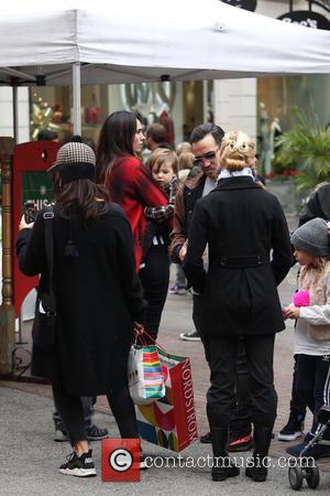 Pete Wentz takes his family (Meagan Camper, Bronx Mowgli Went and Saint Lazslo Wentz) to see Santa Claus at The...