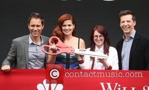 Eric Mccormack, Debra Messing, Megan Mullally and Sean Hayes at Universal City Plaza