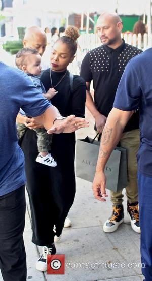 Janet Jackson and her son Eissa, enjoy a meal at the Ivy restaurant with her Creative Director and boyfriend, Preston...