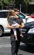 Tobey Maguire, His Daughter Ruby Sweetheart Maguire and Returning To Their Car After Shopping At Fred Segal In West Hollywood