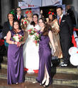 Miranda Hart, Tom Fletcher, Jennifer Saunders, Bride Claire Gilchrist, Dawn French and Harry Judd