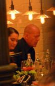 Bruce Willis and His Wife Emma Heming-willis Having Dinner