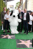 Paul Feig, Jean Schultz, Snoopy, Craig Schultz and Steve Martino